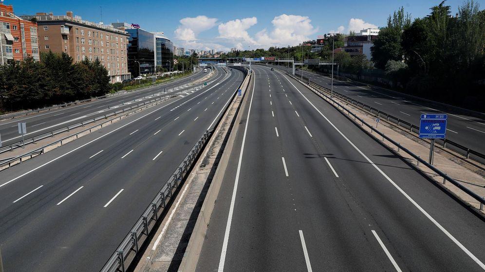 Foto: La M-30, en Madrid, durante el estado de alarma.