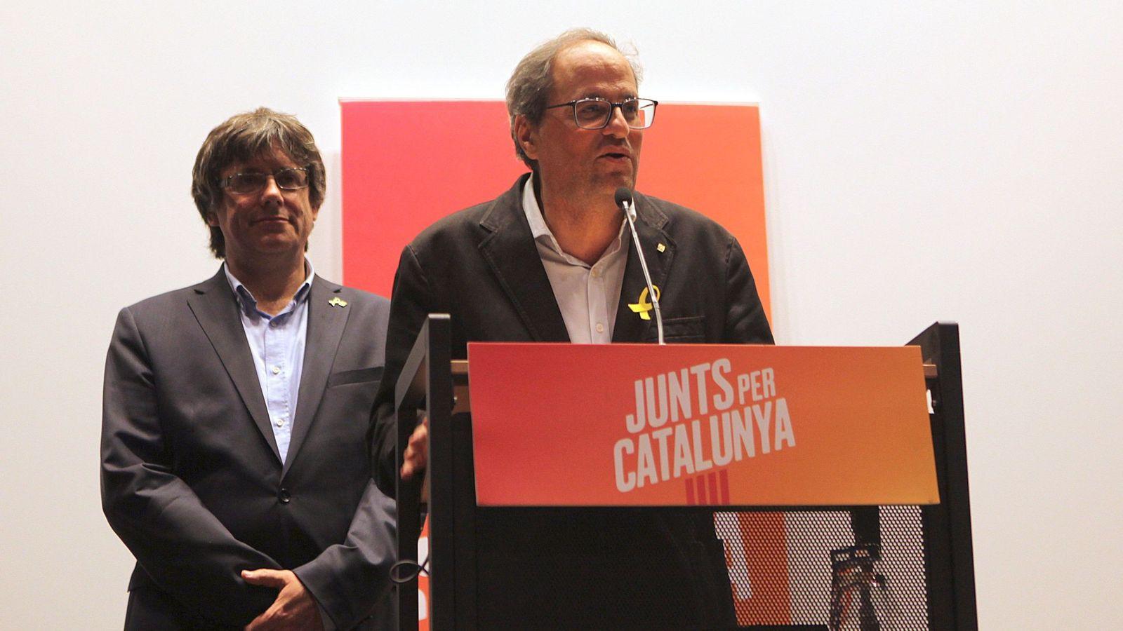Foto: Puigdemont y Torra en una rueda de prensa en Bruselas, celebrada en septiembre. (EFE)