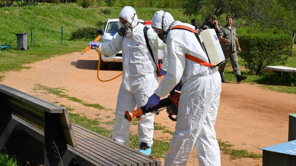 Foto: Dos miembros de un equipo médico desinfectan mobiliario como precaución por el coronavirus. (EFE)