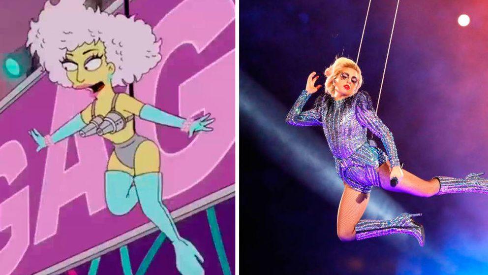 Lady Gaga, representada en un episodio de 'Los Simpson' y durante su actuación en la Super Bowl.