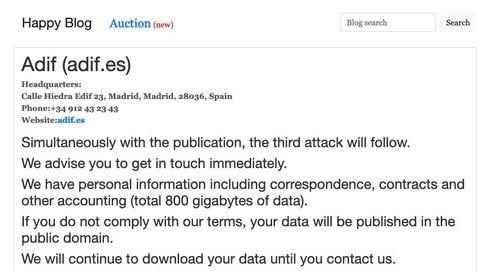 Chantaje a Adif: 'hackers' amenazan con difundir 800GB de información sensible