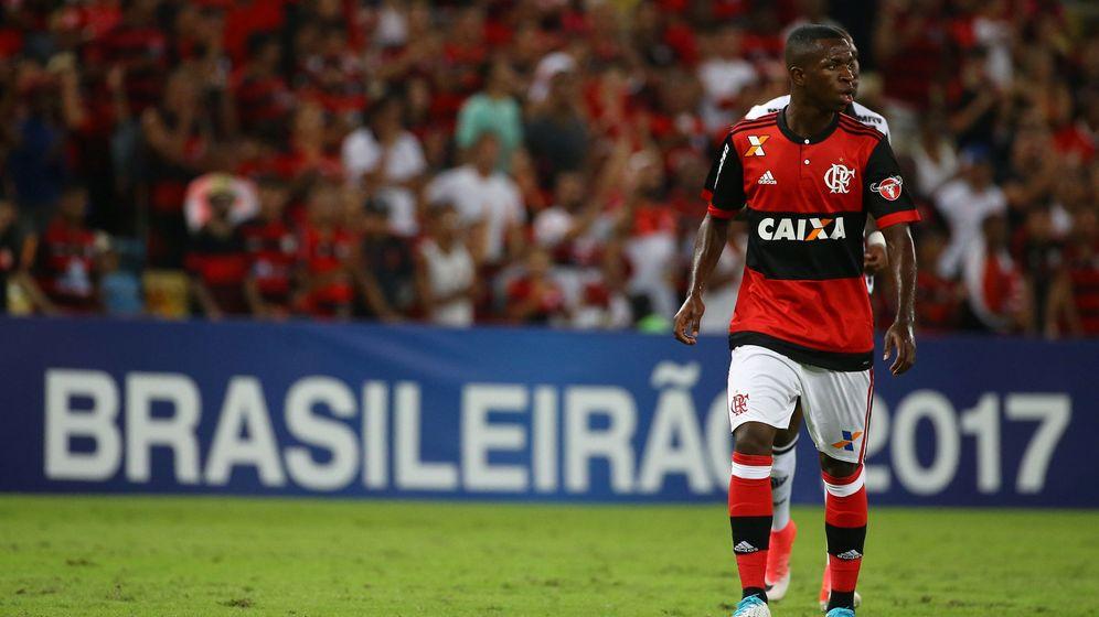 Foto: En la imagen, Vinicius Junior durante un partido con el Flamengo. (Reuters)