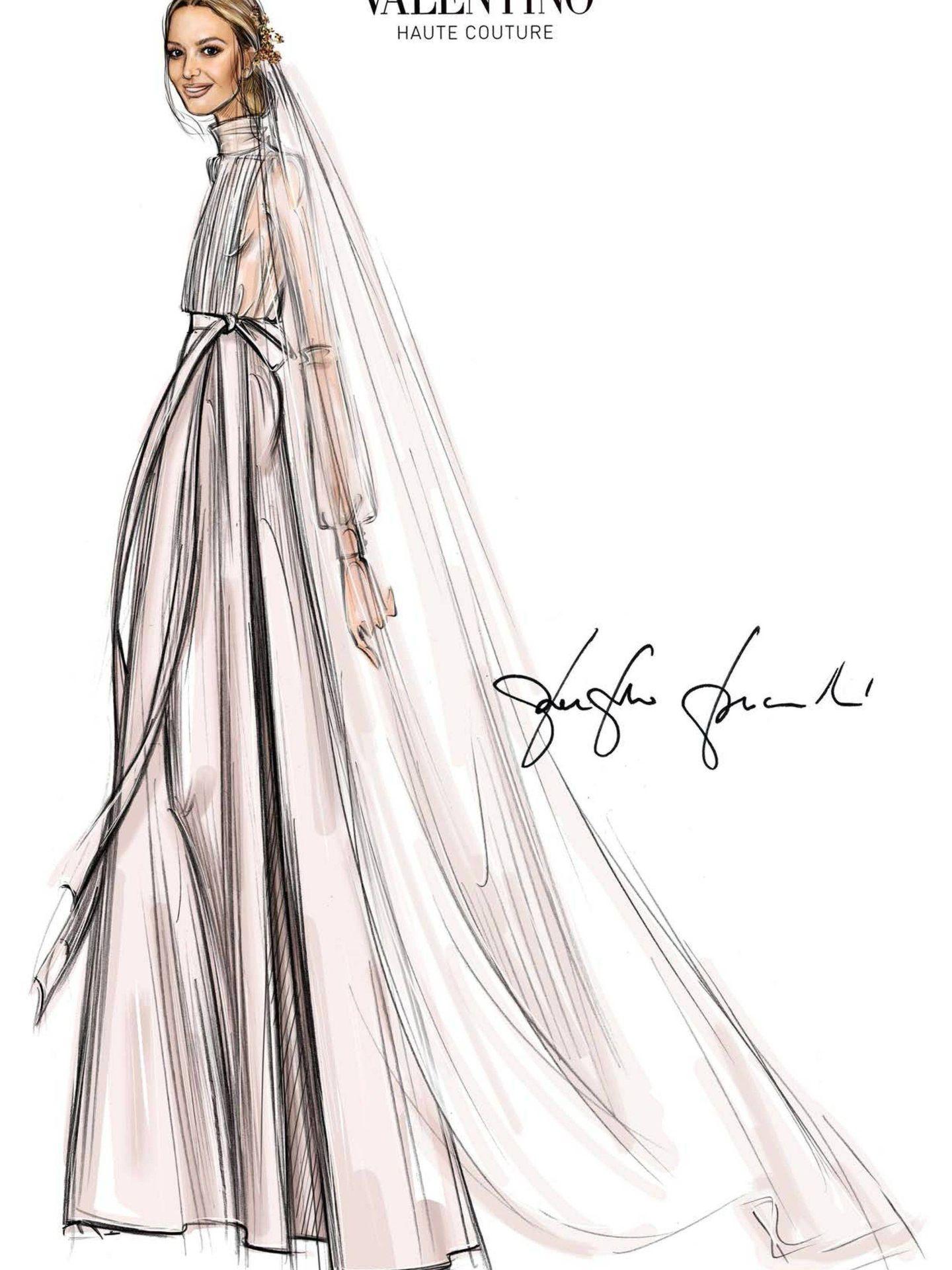 Diseño del vestido de Marta Ortega. (Archivo)
