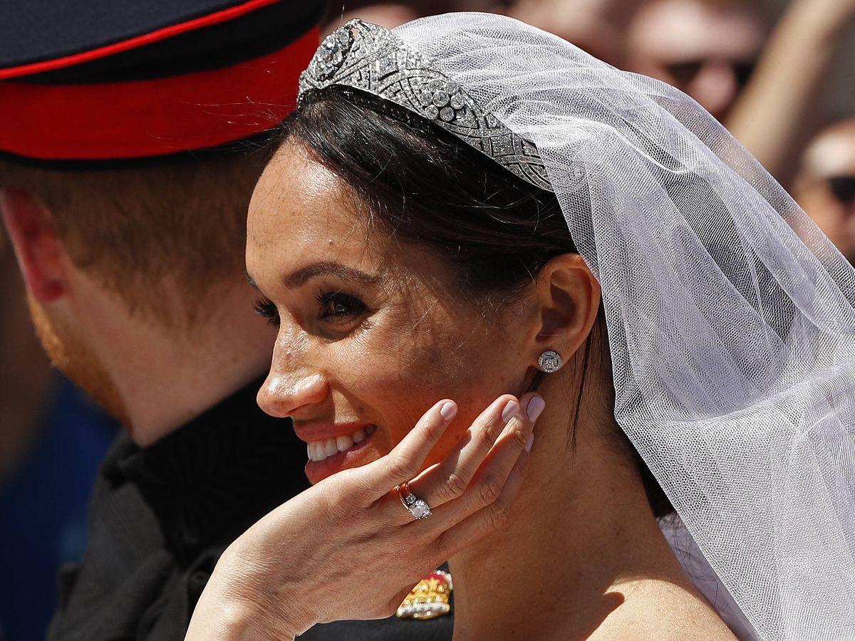 Foto: Primer plano de Meghan Markle en su boda. (Getty)
