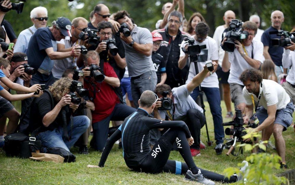 Foto: Froome atendió a la prensa en el día de descanso en Puy (Efe)
