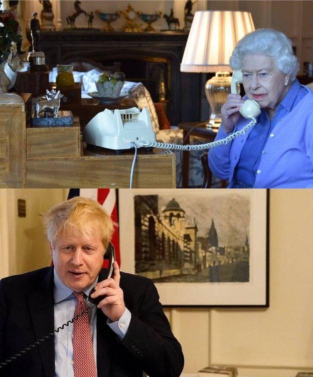 Foto: Fotos de la charla entre Boris y la reina. (Casa Real)