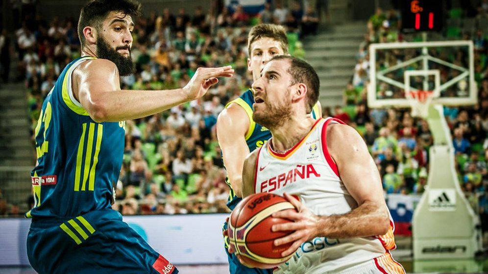 Foto: Quino Colom fue el máximo anotador de España en la victoria ante Eslovenia. (FEB)