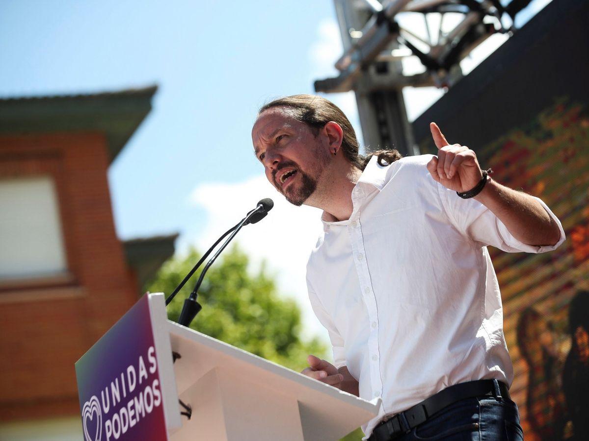 Foto: Pablo Iglesias en un acto de Unidas Podemos en mayo. (EFE)