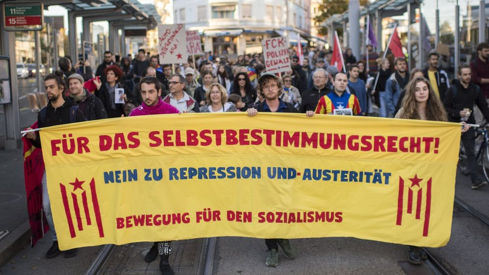 Foto: Manifestación a favor del derecho de autodeterminación de Cataluña en Zúrich en 2017. (EFE)