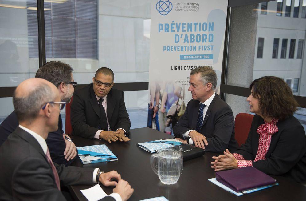 Foto: Urkullu, este lunes durante su visita al Centro para la Prevención de la Radicalización que conduce a la Violencia de Montreal. (EC)