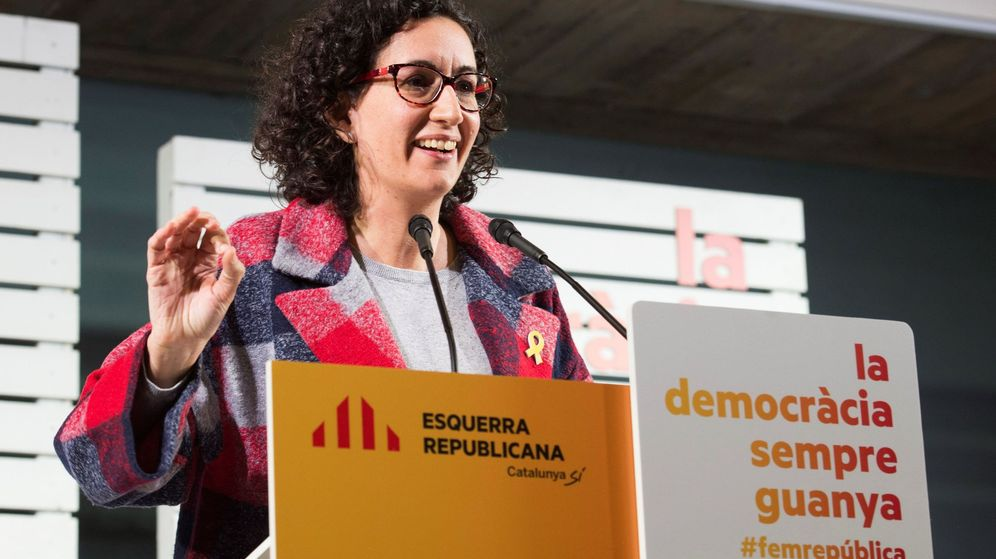 Foto: Marta Rovira en un mitin en Tárrega el pasado martes. (EFE/ Adrián Ropero)