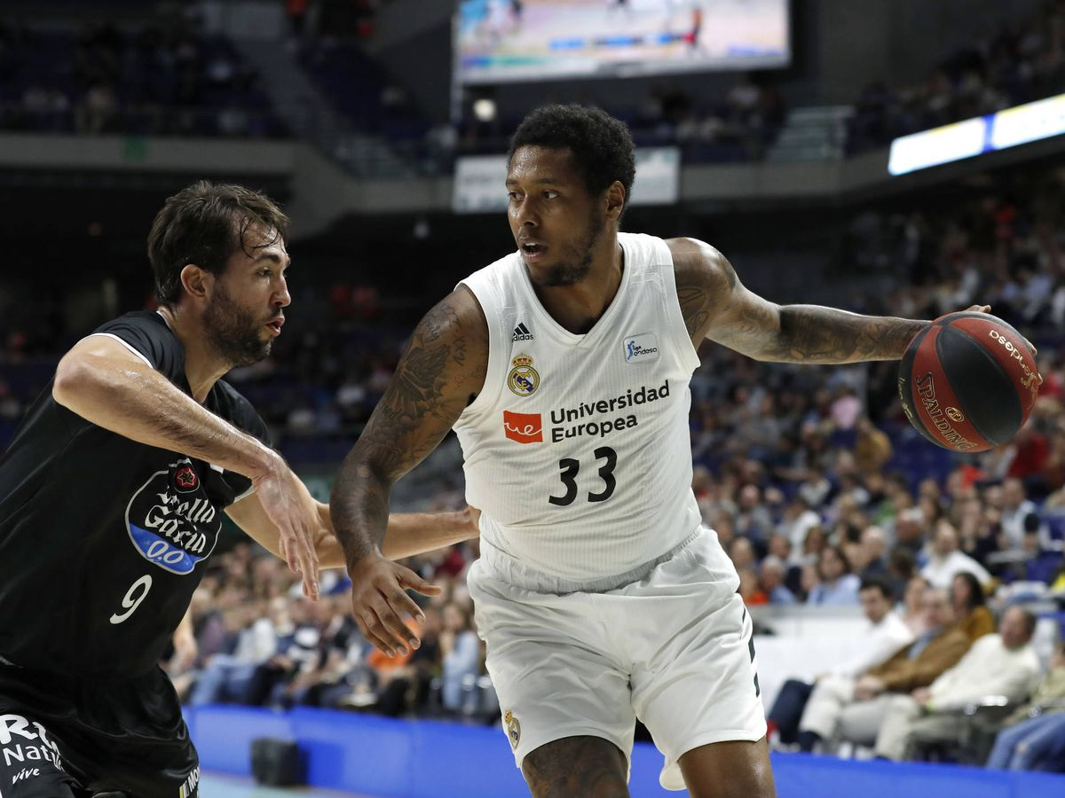 Foto: Trey Thompkins, durante un partido del Real Madrid la pasada temporada. (ACB Photo / P. Castillo)