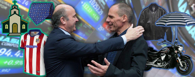 Foto: Los ministros De Guindos y Varufakis, ¿unidos solo por la economía y las finanzas? (Montaje: Vanitatis)