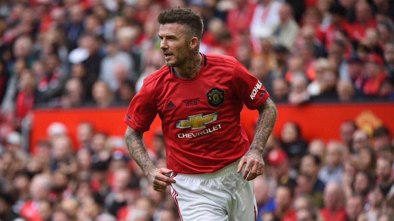 Beckham, en un partido con las leyendas del Manchester United en 2019. (Getty)