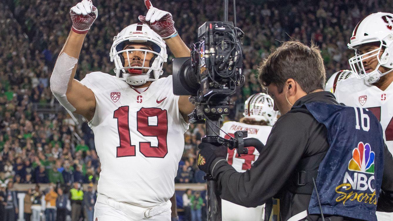 Foto: JJ Arcega, tras anotar un 'touchdown' esta temporada con Stanford Cardinal. (USA TODAY)