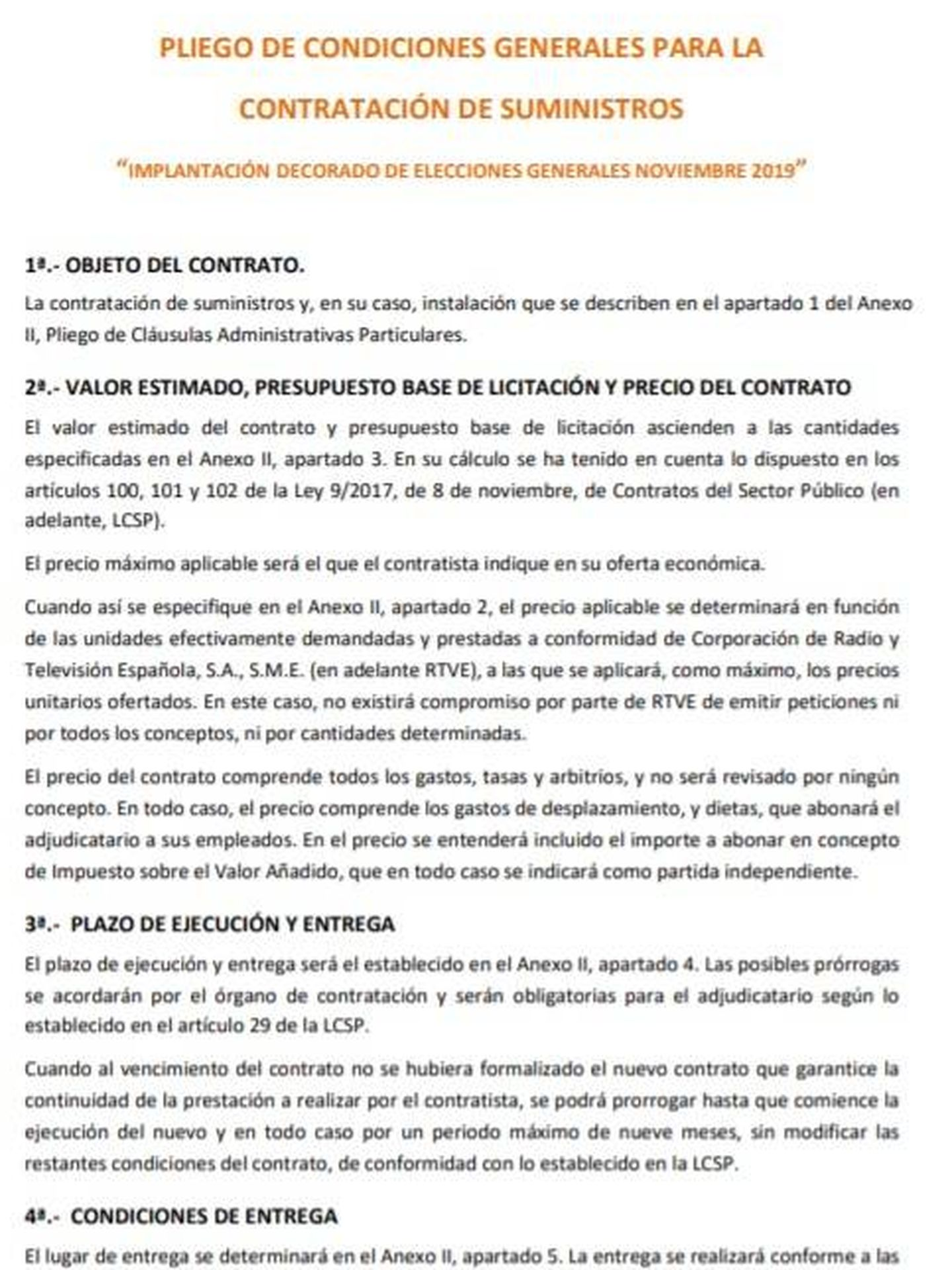 Consulte aquí en PDF el pliego de condiciones generales del contrato de RTVE para la construcción de decorados en caso de unas nuevas elecciones generales el 10-N.