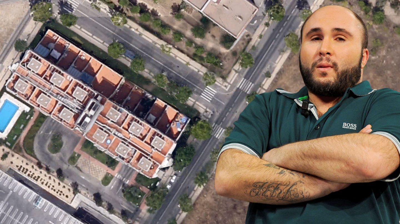 Kiko Rivera, con una imagen aérea de su loft en Madrid. (Montaje: Vanitatis)