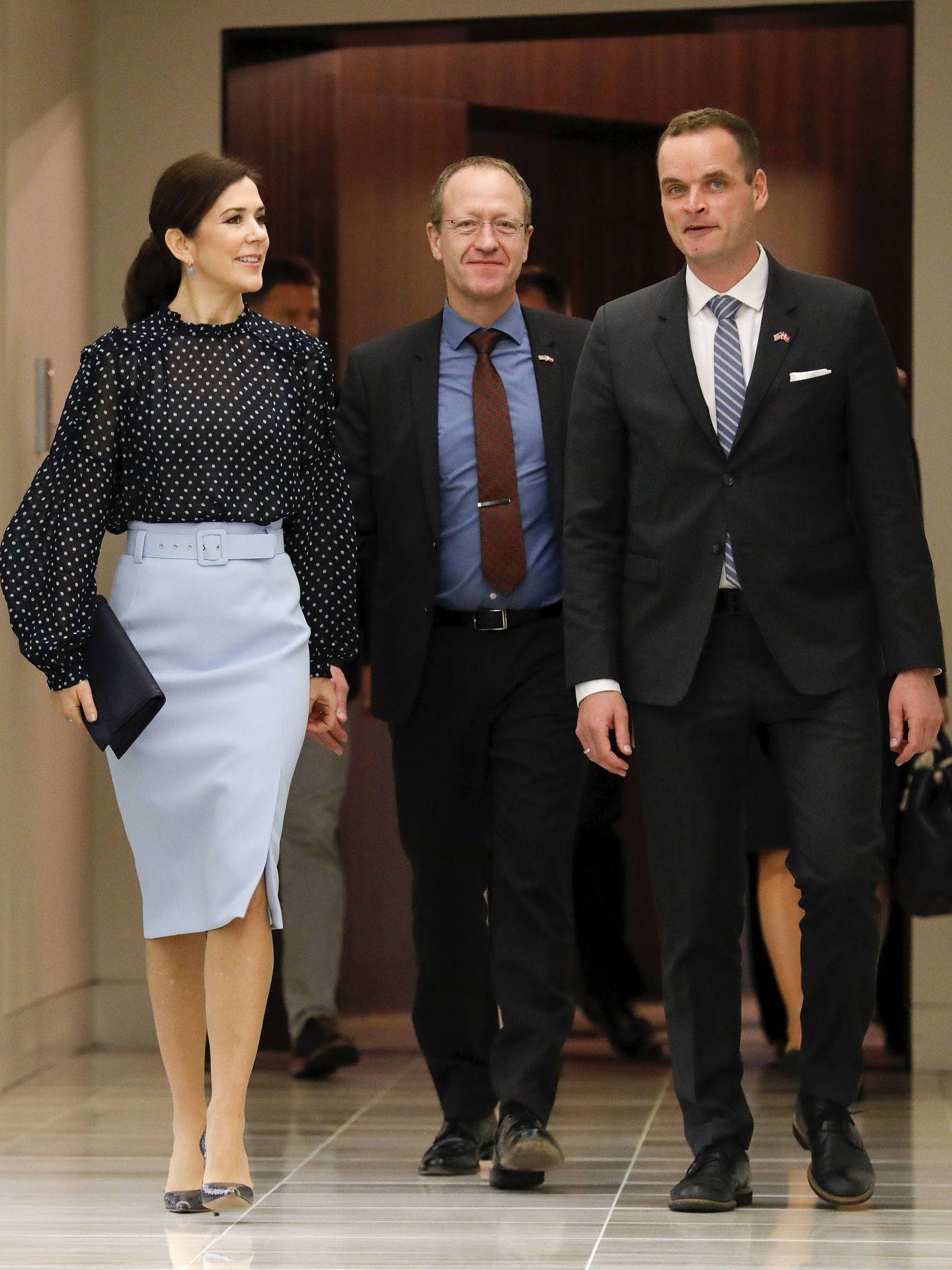 La princesa Mary con su falda de Hugo Boss. (Getty)