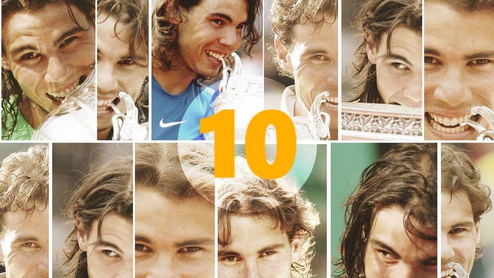 Los 10 mordiscos de Rafa Nadal en Roland Garros