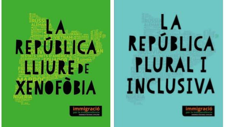 Propaganda de la ANC de la campaña 'Inmigració per la independència'.