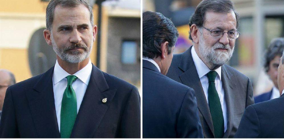 Foto:  Felipe VI, Mariano Rajoy y el misterio de la corbata verde