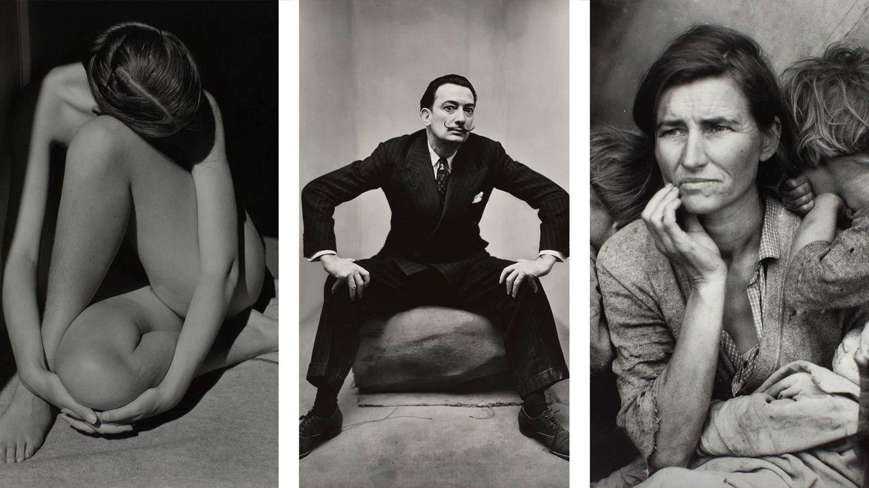 Foto: De izquierda a derecha: Nude (1936), de Edward Weston; Salvador Dali en Nueva York (1947), de Irving Penn; y Migrant Mother (1936), de Dorothea Lange.