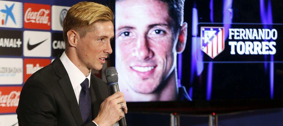 Foto: Fernando Torres, en su presentación como nuevo jugador del Atlético de Madrid.