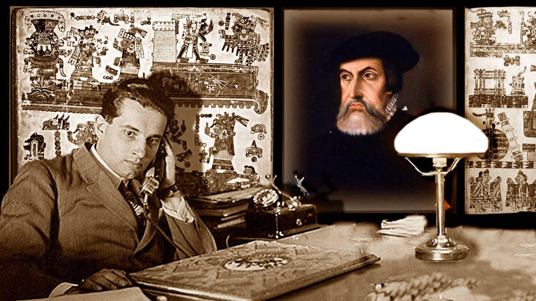 Foto: Lászlo Passuth con el retrato de Hernán Cortés. (Imagen: J. M.)