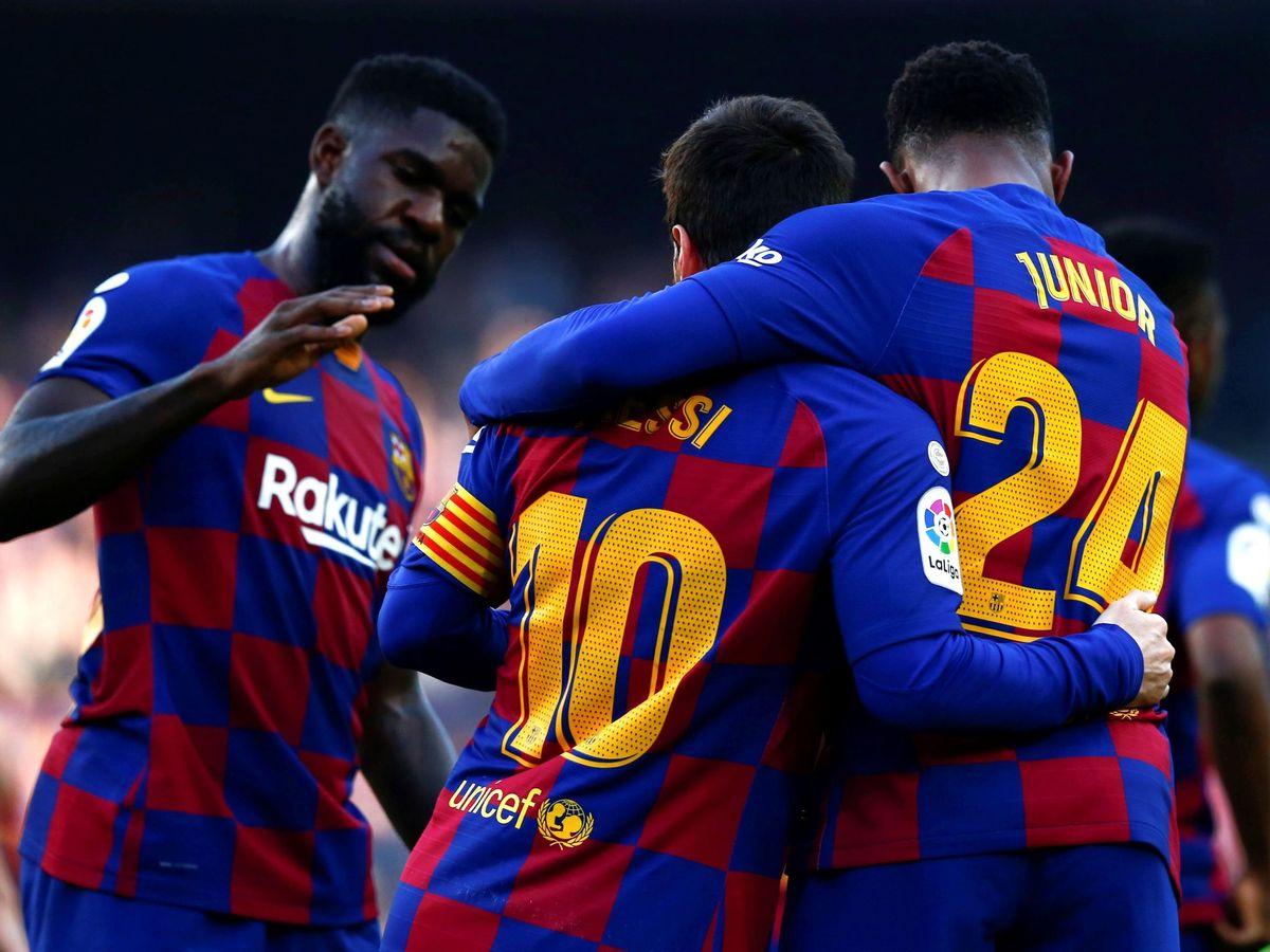 Foto: Los jugadores del Barcelona celebran el gol de Sergi Roberto ante el Getafe. (EFE)
