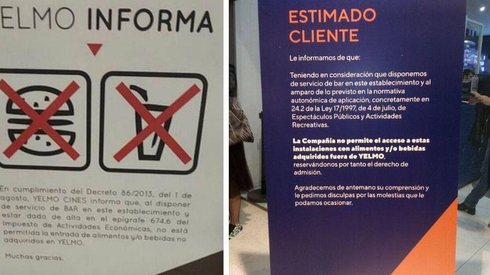 Foto: Carteles en los cines Yelmo donde indican la prohibición de entrar con comida del exterior