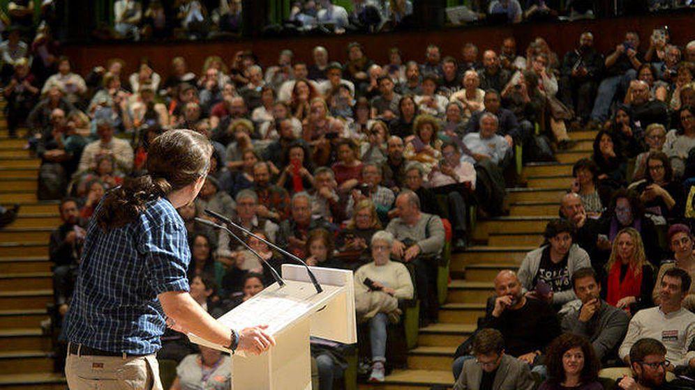 Foto: Pablo Iglesias durante la intervención de cierre del encuentro En Marcha, celebrado en la UCM. (Dani Gago)