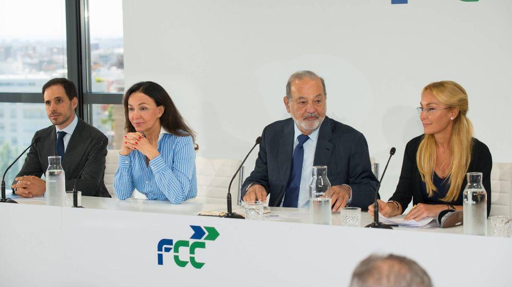 Foto: Esther Koplowitz, Carlos Slim y Esther Alcorcer, durante el Investors Day de FCC.