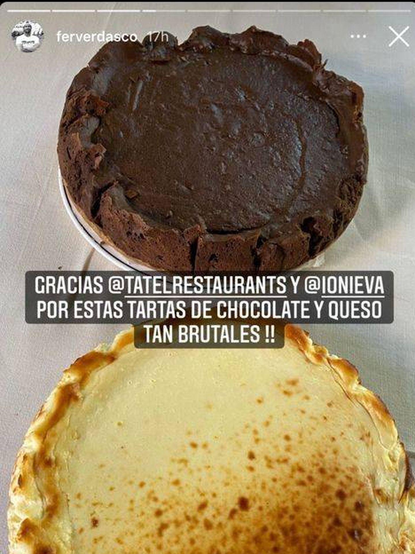 Tartas de Ana Boyer compartidas por Verdasco. (Redes)