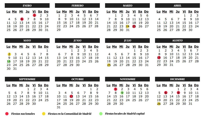Vacaciones calendario de festivos de 2016 de la comunidad for Calendario laboral leganes 2017