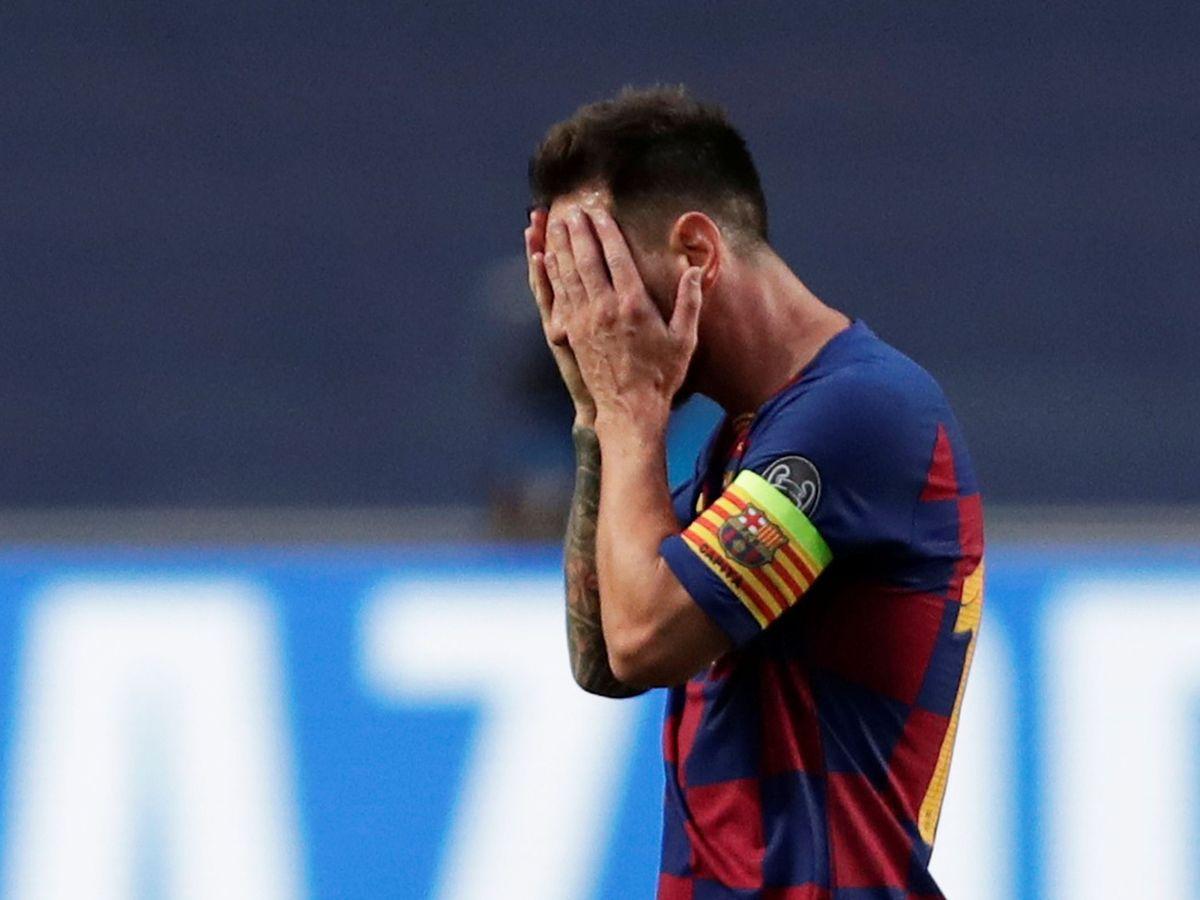Foto: Messi, durante el partido (Efe).