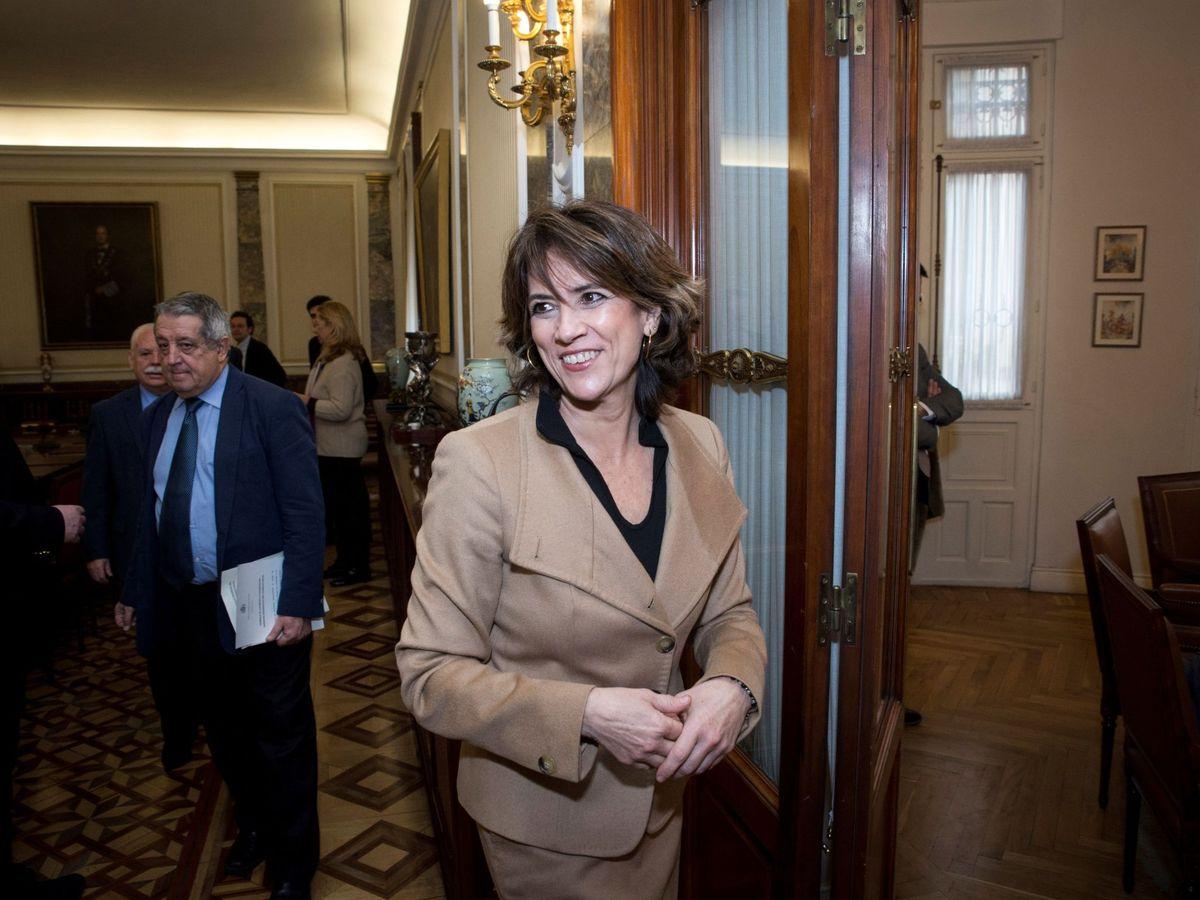 Foto: Dolores Delgado tras el primer pleno del Consejo Fiscal, el pasado 4 de marzo. (EFE)