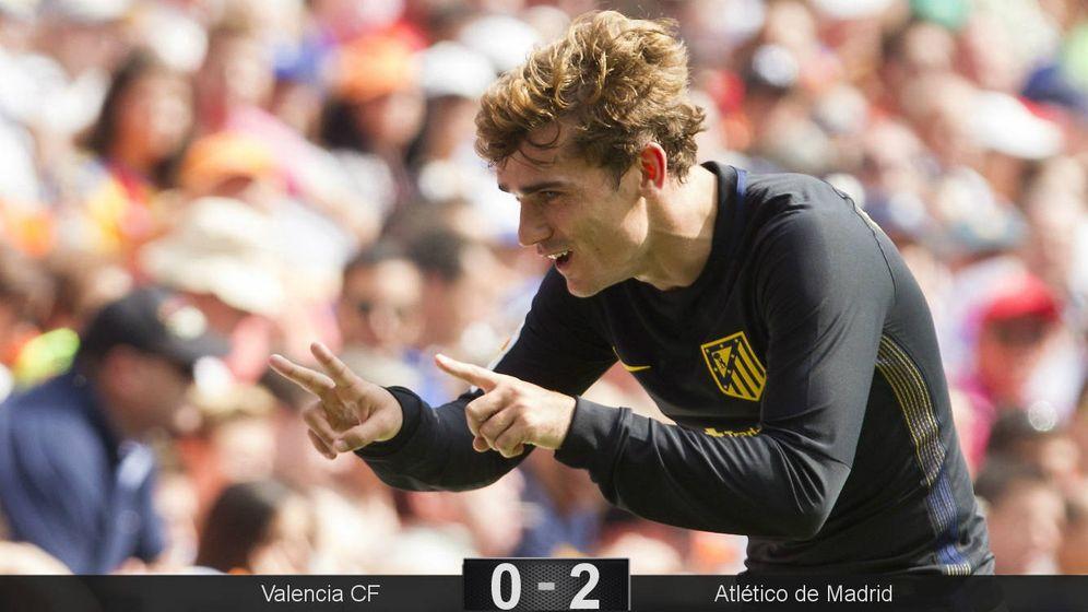 Foto: Griezmann hizo el gesto del '12' para dedicar su gol a Augusto (Miguel Ángel Polo/EFE).