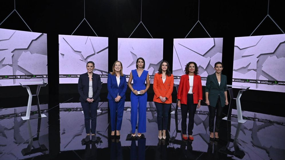 Foto: Ana Pastor, junto a Irene Montero, Ana Pastor, Inés Arrimadas, María Jesús Montero y Rocío Monasterio. (Atresmedia)