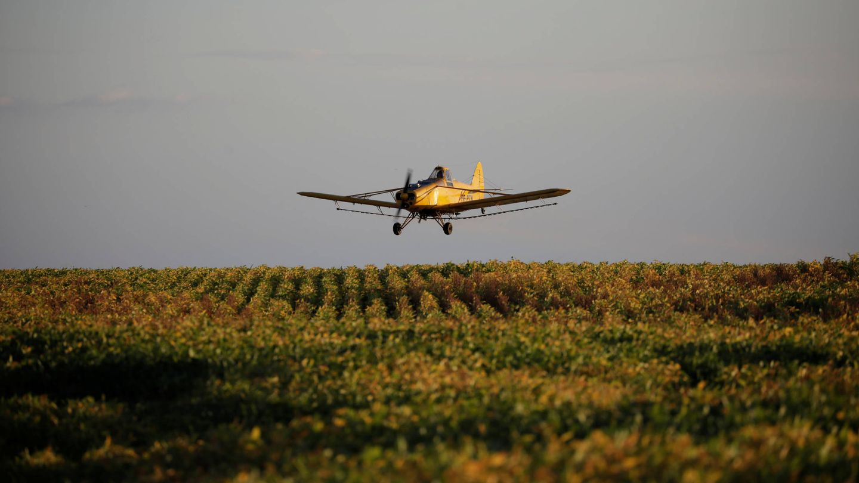 Un avión fumiga unos cultivos cerca de Palmeirante, en Brasil. (Reuters)