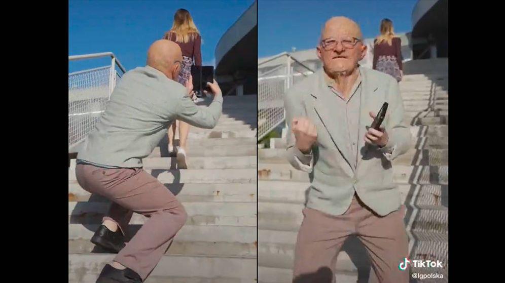 Foto: El anciano fotografía a la joven y, después, lo celebra (Foto: Tik Tok)
