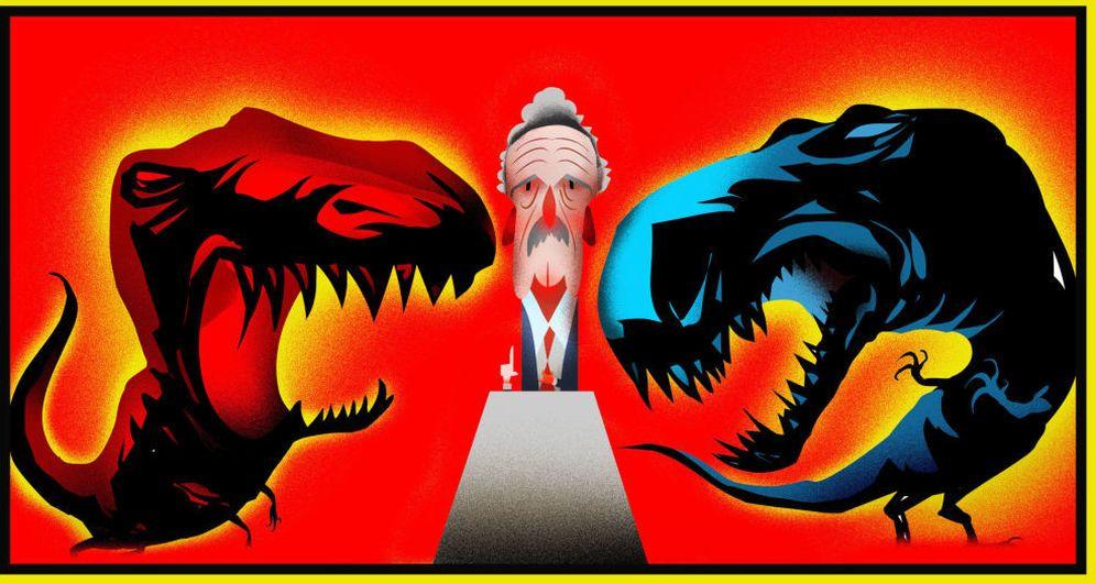 Foto: Ilustración del debate entre Mariano Rajoy y Pedro Sánchez. (Raúl Arias)