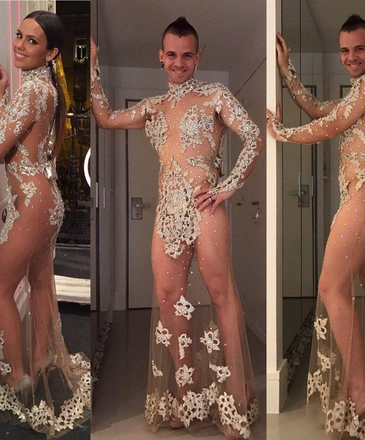 Foto: David Muñoz con el vestido de Cristina Pedroche