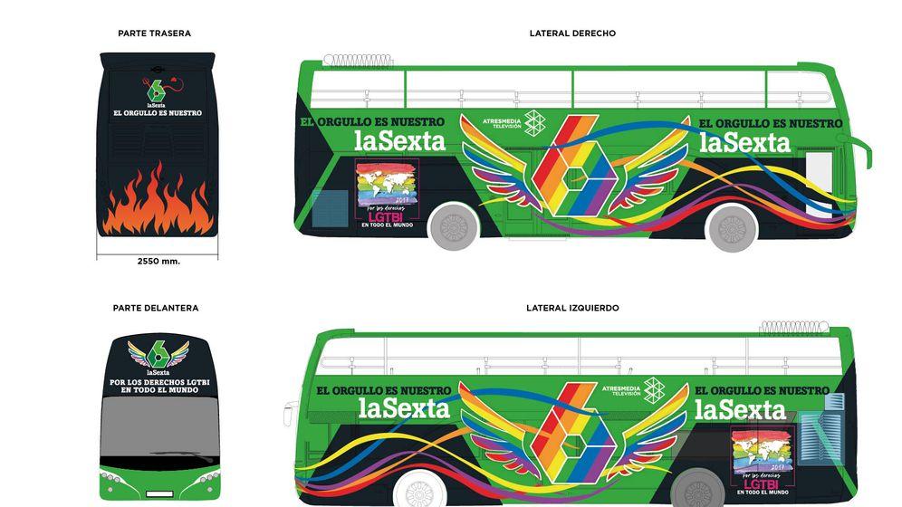 Foto: El autobus personalizado que La Sexta pondrá en marcha durante el WorldPride Madrid 2017. (Atresmedia)