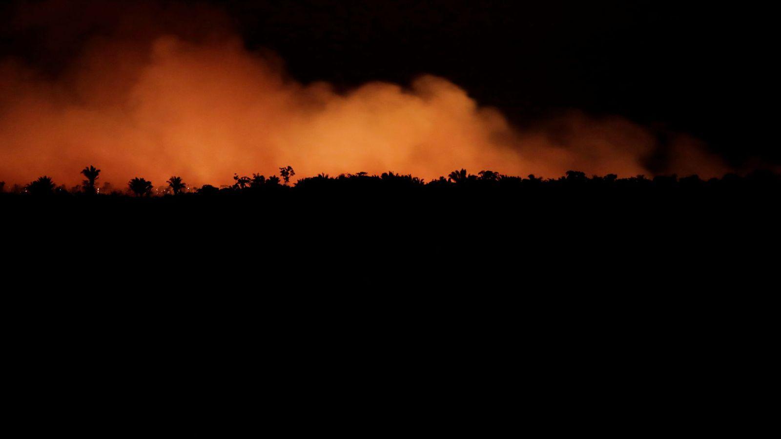 Foto: Columnas de fuego en el bosque del Amazonas, en Brasil, el 17 de agosto. (Reuters)