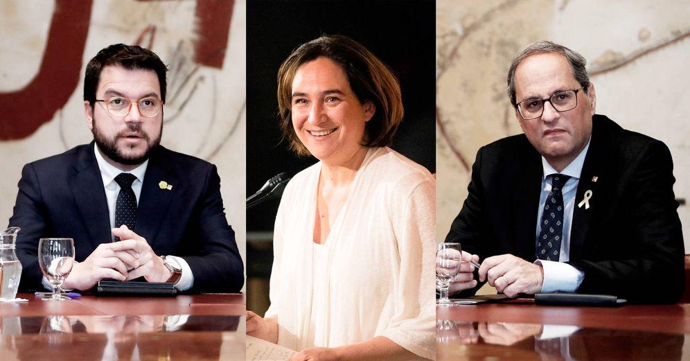 Foto: Pere Aragonès, Ada Colau y Quim Torra. (EFE)