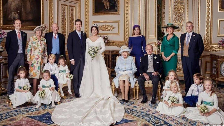 Foto familiar de la boda de Eugenia de York. (Alex Bramall).