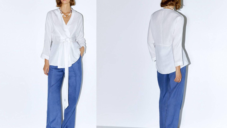 Vista de la blusa ideal de invitada de Zara. (Cortesía)