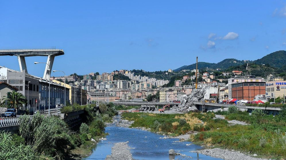 Foto: Estado en el que quedó el puente Morandi, en Génova, tras derrumbarse. (EFE)
