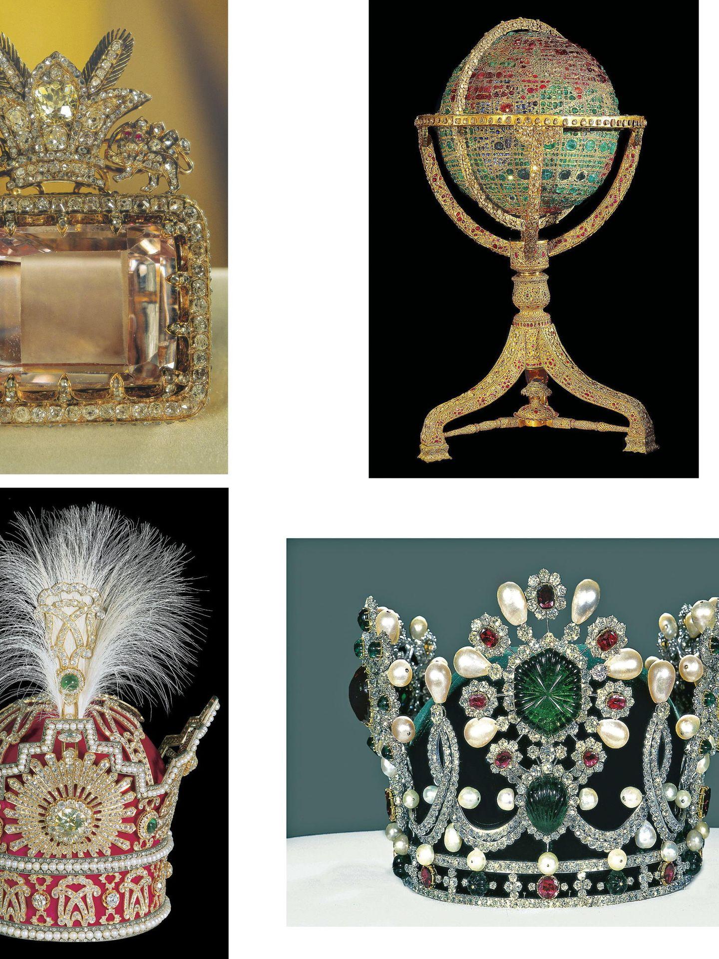 Coronas de la dinastía Pahlavi, expuestas en Teherán. (EFE)
