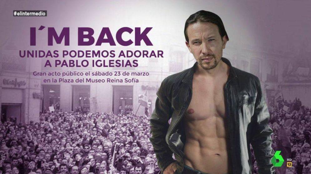 Foto: El cartel propuesto por 'El intermedio' para Podemos. (Atresmedia)